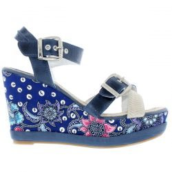 DL41 BATIK - Indigo/Blue Batik - Footwear and wedges from Blackstone Shoes