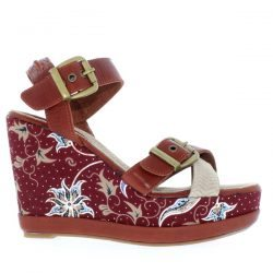 DL41 BATIK - Rust/Red Batik - Footwear and wedges from Blackstone Shoes
