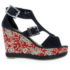 FL52 Batik - Black/Red - Footwear and wedges from Blackstone Shoes